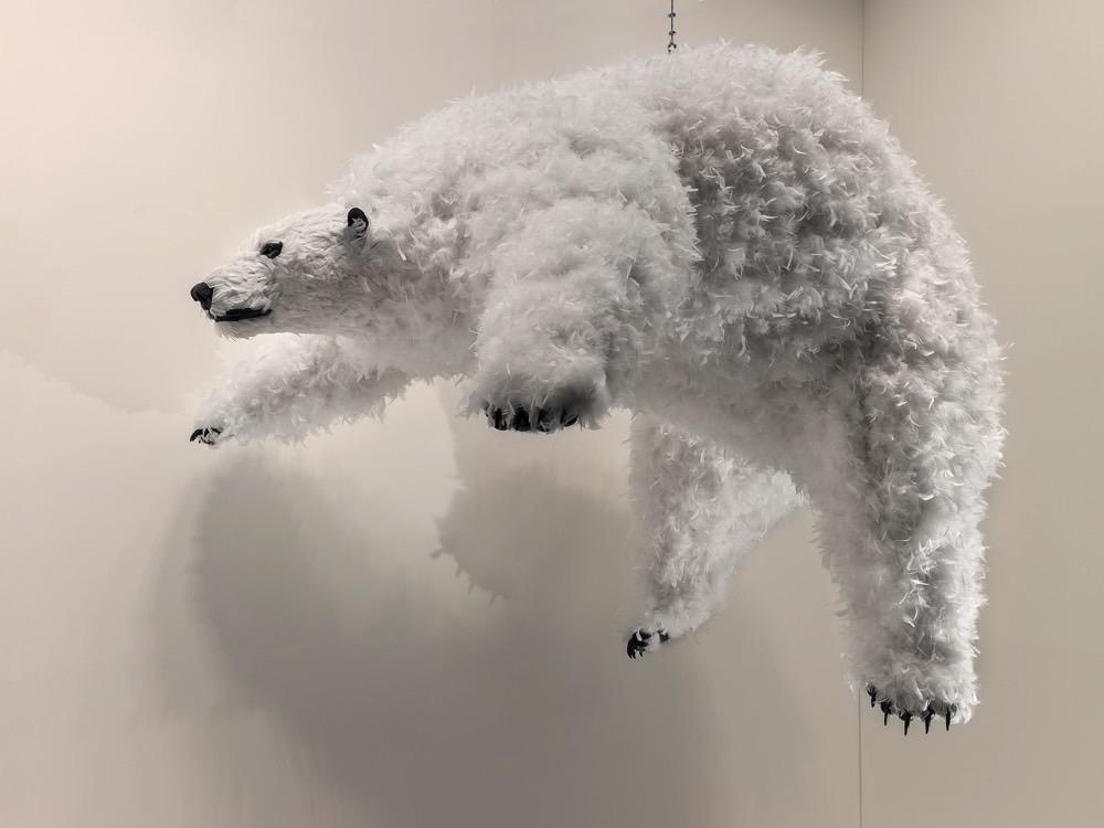"""""""Too late"""", 2017. Urethane foam, plastic, feathers. h. 234 x L. 173 x l. 87 cm   h. 92 1/8 x l. 68 1/8 x w. 34 1/4 in. Photo: Attilio Maranzano. Courtesy the artist and Perrotin."""
