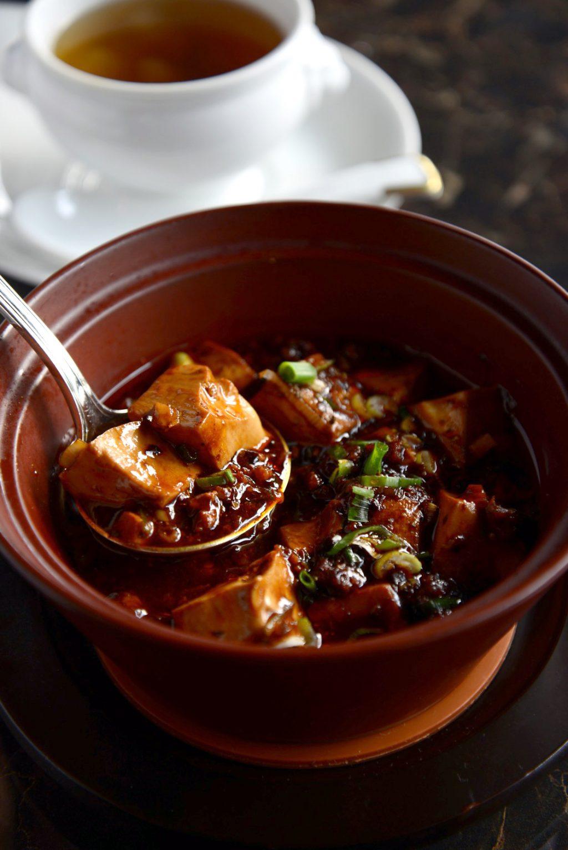 「本日の蒸しスープ」と「麻と辣の土鍋麻婆豆腐とご飯」