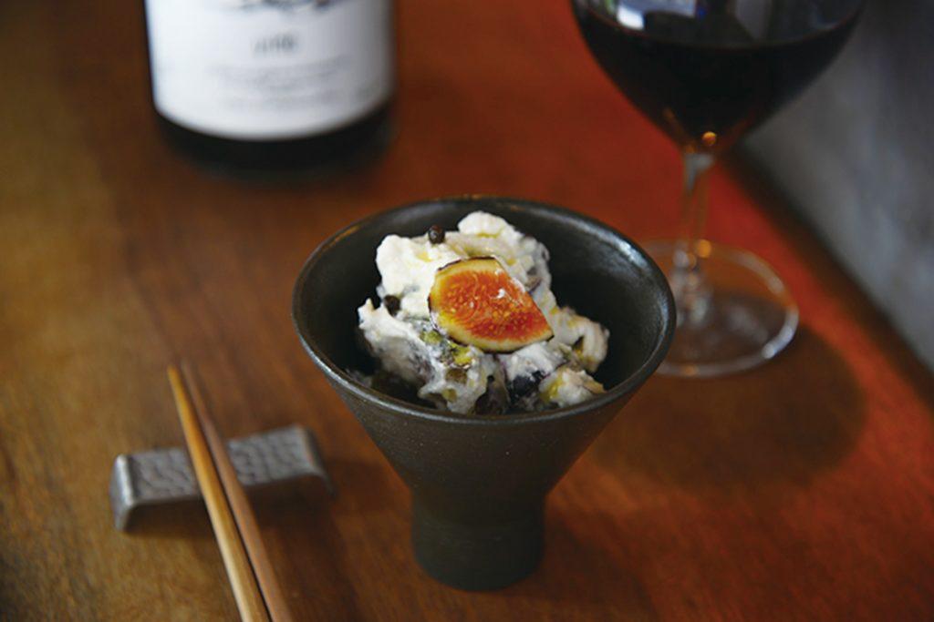 「黒イチジクとリコッタチーズの白和え」(600円)