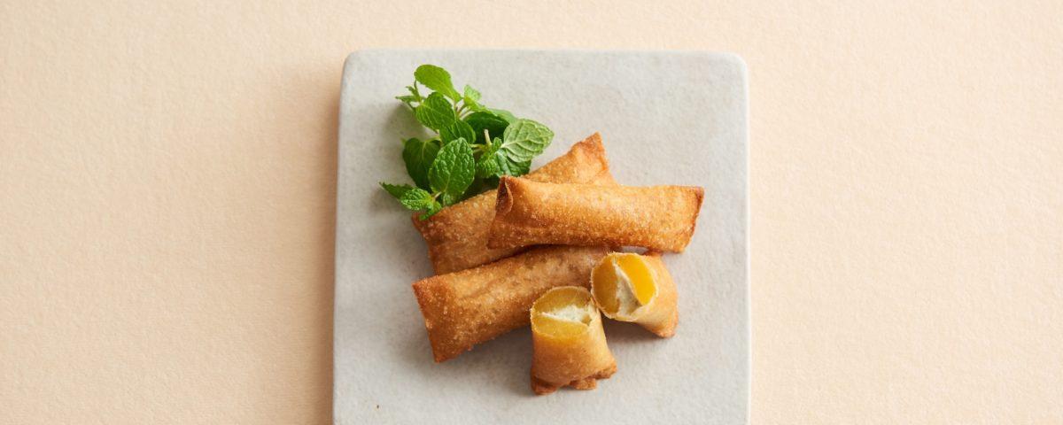 茨城のあま〜い「丸干し芋」にチーズを詰め春巻きの皮に包んで揚げる!って、ぜったいおいしい!!