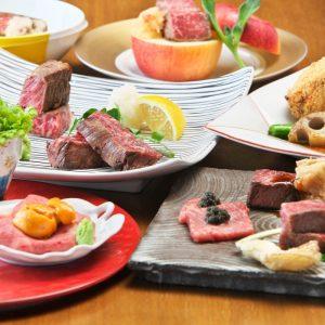 前菜からシメのご飯まで牛づくし。山形和牛の希少部位も使用した肉好き垂涎の人気コース。