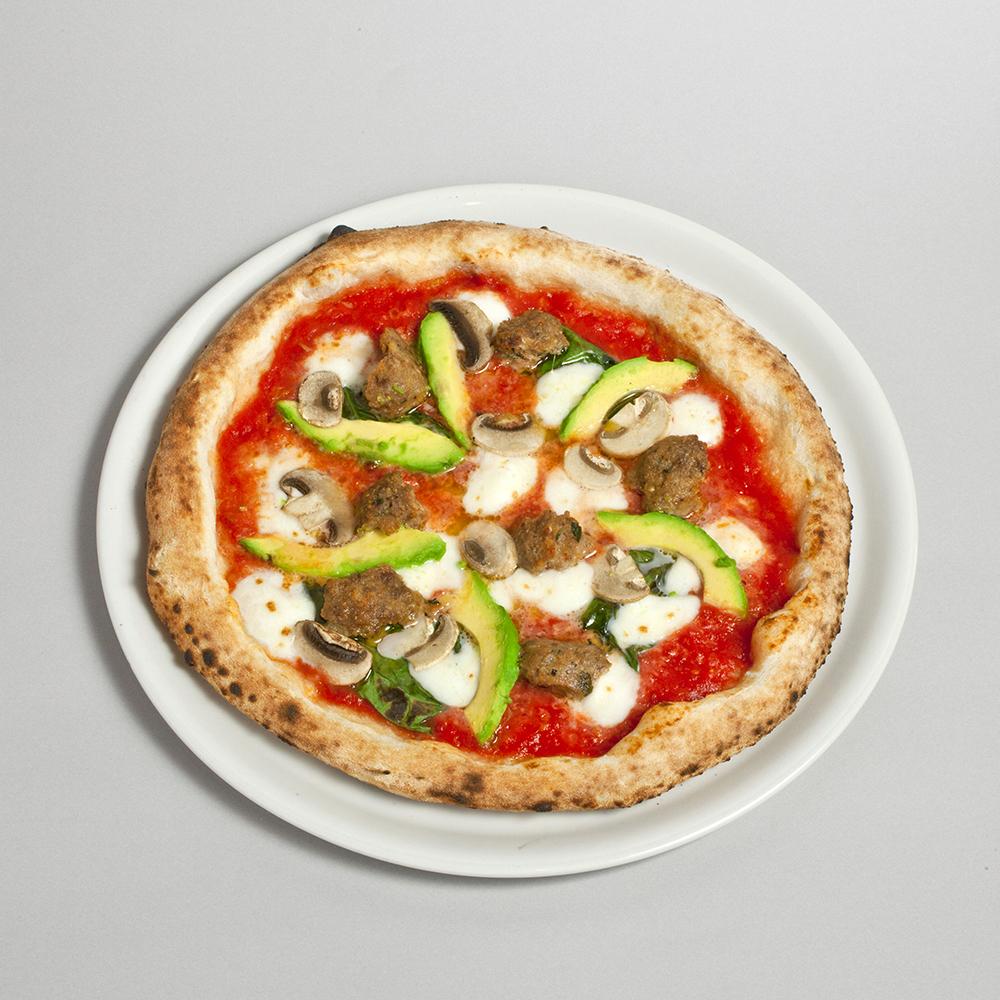 マルゲリータ+ミートボール、アボカド、ホワイトマッシュルームのピッツァ1,480円