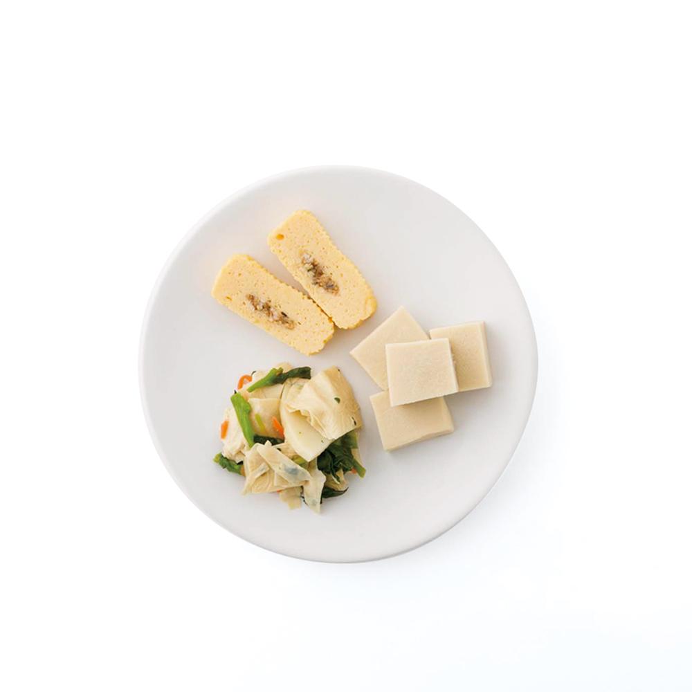 上から時計まわりに、う巻、高野豆腐、菜の花入湯葉たけのこ各130円~