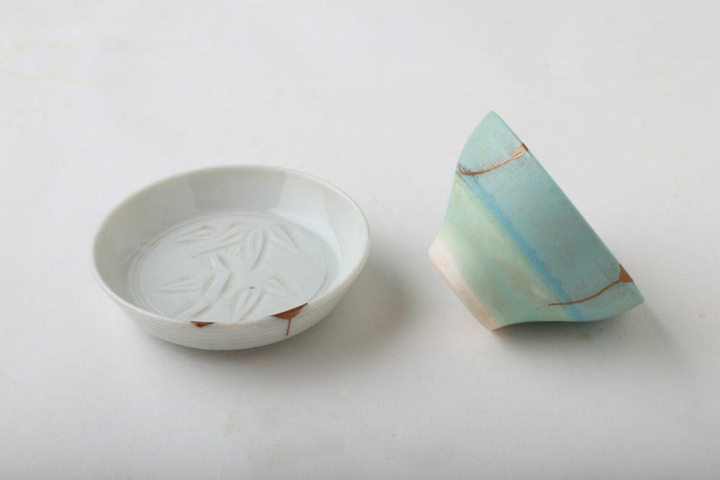 左・金継豆皿16,000円、右・金継カップ16,000円