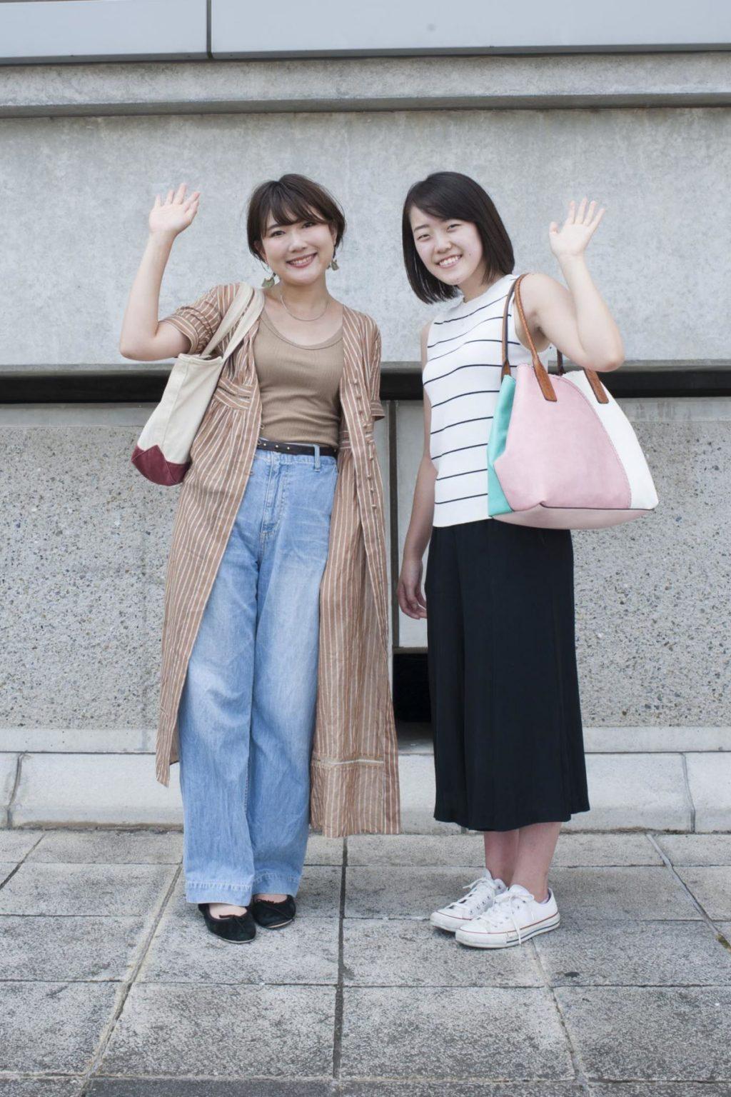 ハナコラボディレクターの川久保さん(左)とメンバ ーの類家(右)さん。ともにサッカー観戦ははじめて。