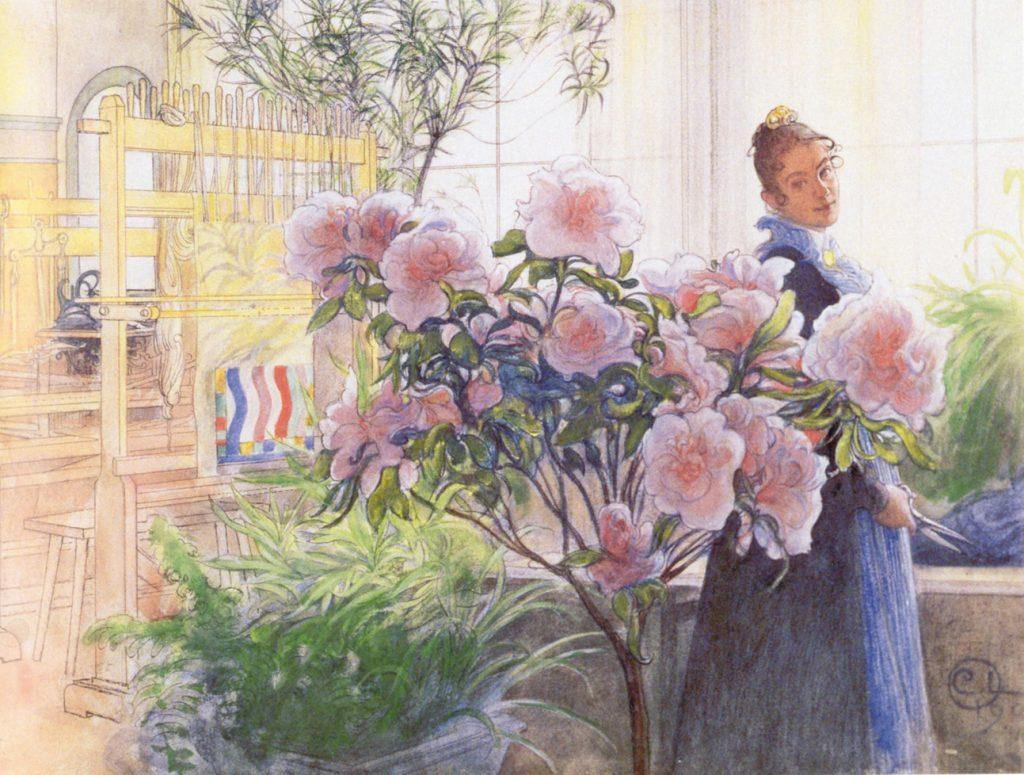 カール・ラーション「アザレアの花」(1906年 水彩 ティールスカ・ギャラリー所蔵 )※画像写真の無断転載を禁じます。