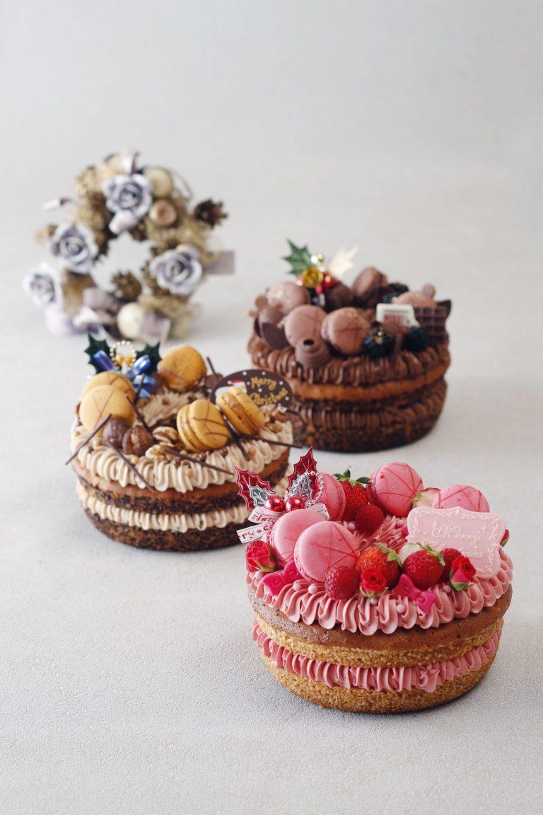 【リースケーキコレクション】 奥から「ショコラ」「マロン」「ルージュ」 全て18cm 7,600円