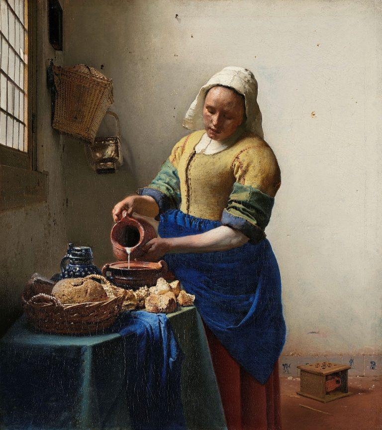 ヨハネス・フェルメール「牛乳を注ぐ女」(1658年-1660年頃 〈アムステルダム国立美術館〉Rijksmuseum. Purchased with the support of the Vereniging Rembrandt, 1908)