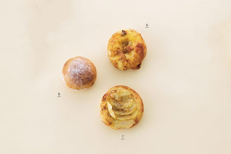 6.5種のチ ーズのフォカッチャ190円、7.ジャガイモのフォカッチャ220円、8.キタノカオリのプチパン100円