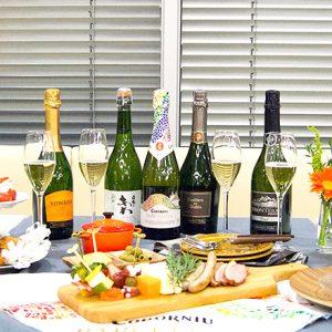 〈メルシャン〉スパークリングワイン5種類の飲み比べとペアリングを体験。