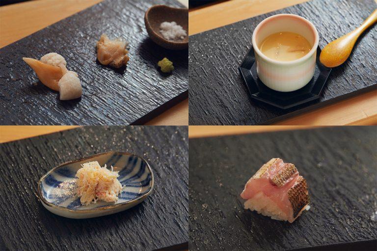左上:ツブ貝とイシカゲ貝、右上:蛤の茶碗蒸し、左下:毛蟹、右下:カマスの棒寿司