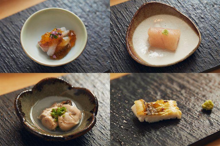 左上:剣先イカのゲソ、右上:白カジキの自家製生ハム、左下:北海道仙鳳趾産カキの低温調理、右下:穴子の白焼き