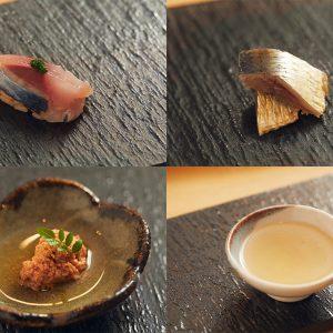 左上:オアカムロの握り、右上:イワシの燻製、左下:金目鯛の卵の煮物、右下:メイチ鯛のスープ
