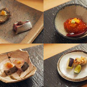 左上:サンマの刺身・肝醤油のせと炭火あぶり、右上:いくらの出汁醤油漬けとバフンウニの小さな丼、左下:藁焼き鰆、右下:甘鯛の松笠焼きと水茄子