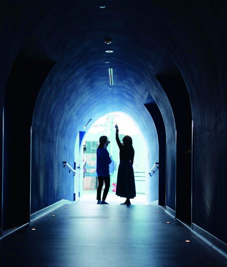 左右にスクリーンの入り口が並ぶ廊下は「青の洞窟」をイメージ。