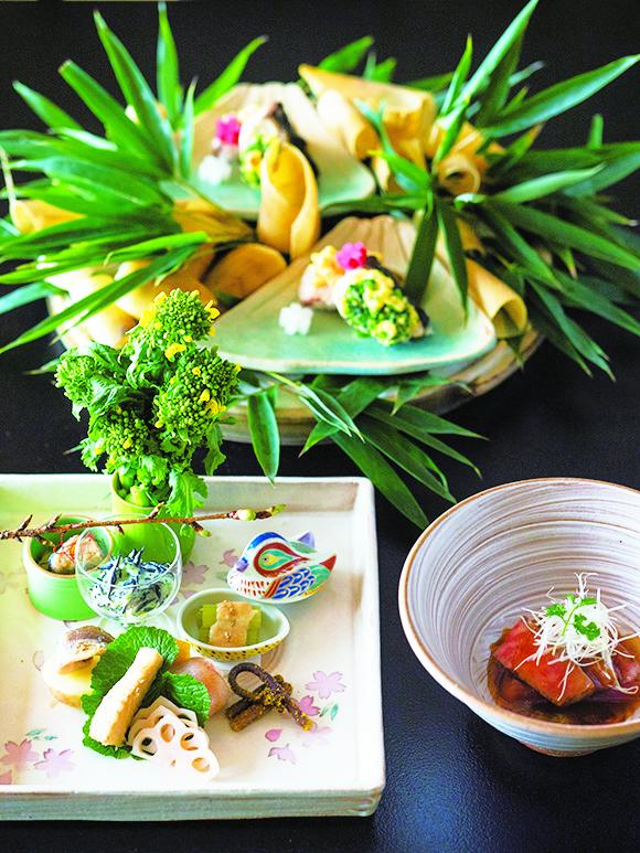 筍の揚げ出しや小鯛の手まり寿司ほか若狭の春山焼きなど、手の込んだ懐石料理の一部。