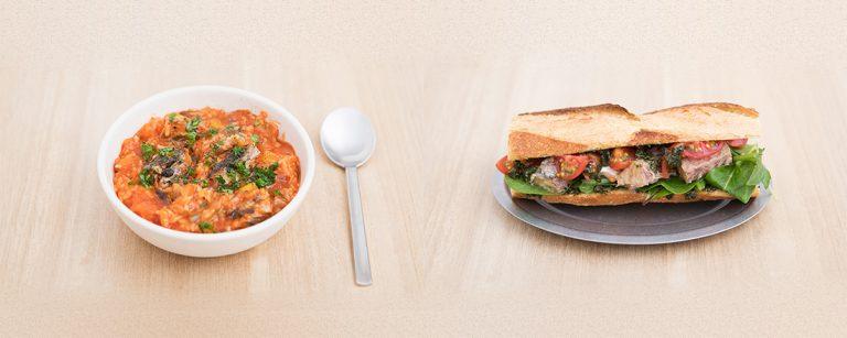 【鯖缶】の朝食アレンジレシピ「バジル風味のサバサンド」「サバのトマトリゾット風」