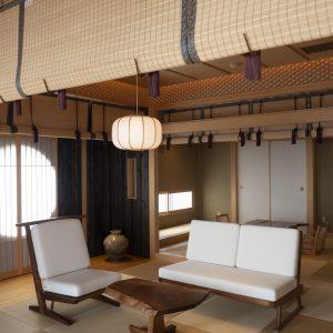 貴賓館の「海」は純和風。貴賓館は1フロア1室で全3室、客室の隣に専用のお食事処があり、そこで食事を楽しめる完全プライベート仕様。
