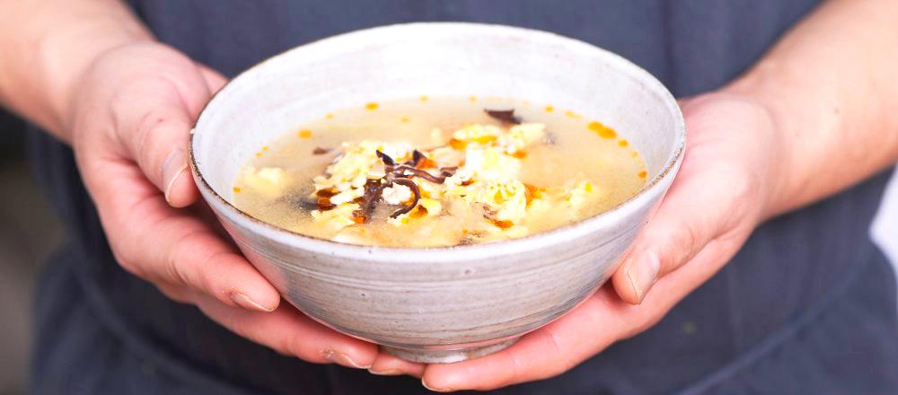 【長野・なめ茸】のアレンジレシピ 「なめ茸サンラースープ」