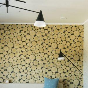 フォレストツインルームのソファコーナー。丸太柄の壁紙と小人の帽子をイメージした照明は、橋本氏によるもの。