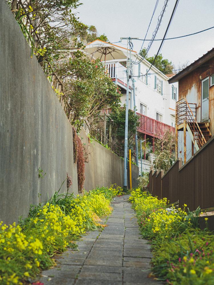 路地裏をくねくね、野の花が咲く、民家の間を抜けてたどり着く、斜面に立つ一軒家レストラン。