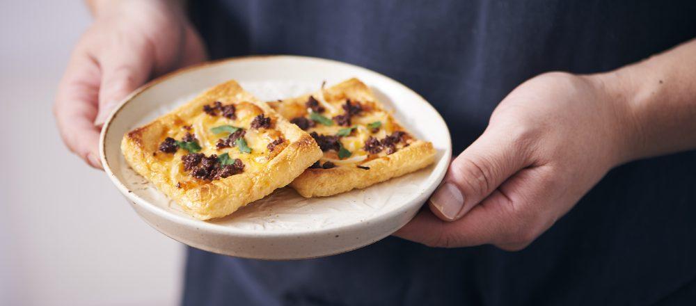 料理家さんたちが提案!ご当地おみやげのアレンジレシピ 「イカへしこのオイル漬けのお揚げピザ」
