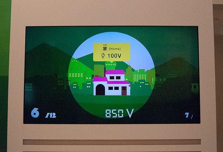 家に配る電気の大きさは100V。手元のボタンで電気の大きさを変えます。