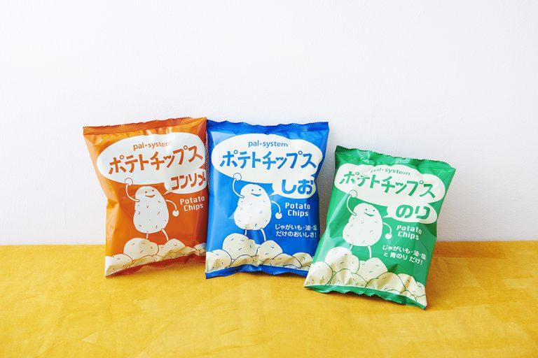 「ポテトチップス」左からコンソメ、しお、のり。1箱 60g×4袋(同種類)/429円(税抜)