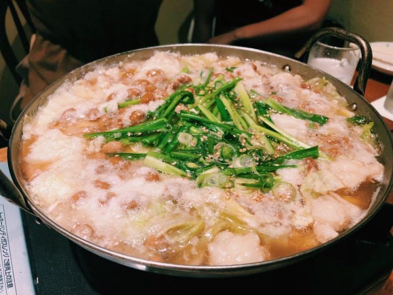 「納豆モツ鍋」納豆料理専門店〈粘ランド〉にて