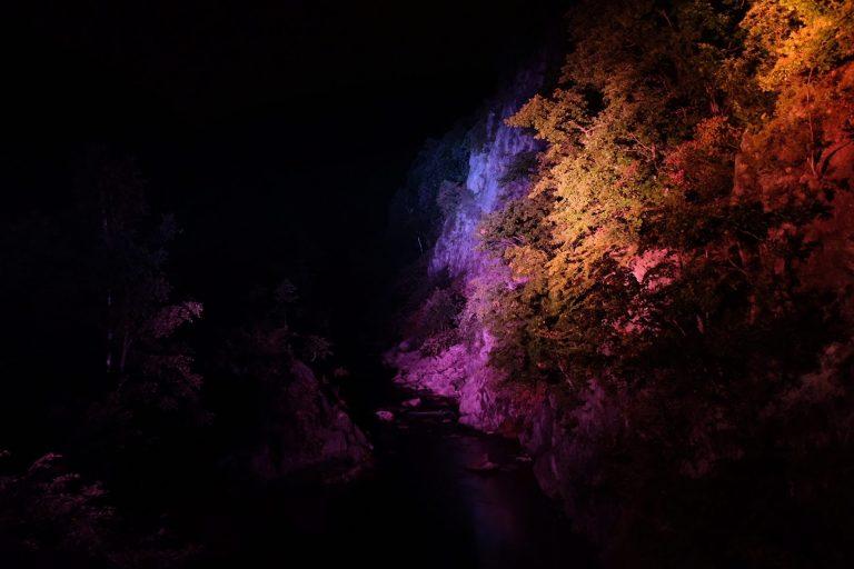 ライトアップやプロジェクションマッピングで自然の神秘性や美しさがより引き立つ