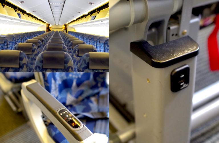 (写真・左下)オーディオ操作パネルがアームレストの上面に付いているのも、この機体ならでは!