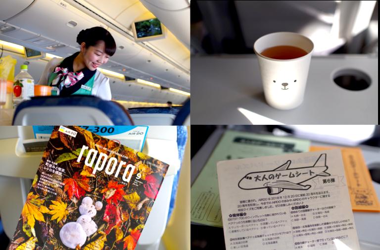 (写真・右下)客室乗務員の方々が自ら制作している「大人のゲームシート」。北海道の方言クイズなど、面白くて知識がつく!