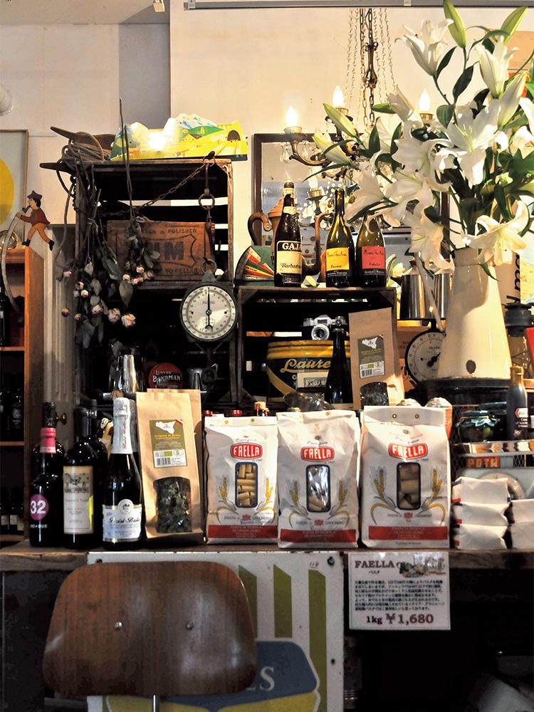パスタやワインなど、販売されるものは新町さんがおいしいと認めたものだけ。