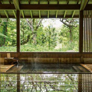 敷地内に湧く源泉の湯は加水、加温せず、大地の力がそのまま溶け出したかのよう。檜の香りが清々しい、窓のない湯殿が、〈ホテリ アアルト〉の露天風呂。この湯が忘れられずに再訪する客も多い。
