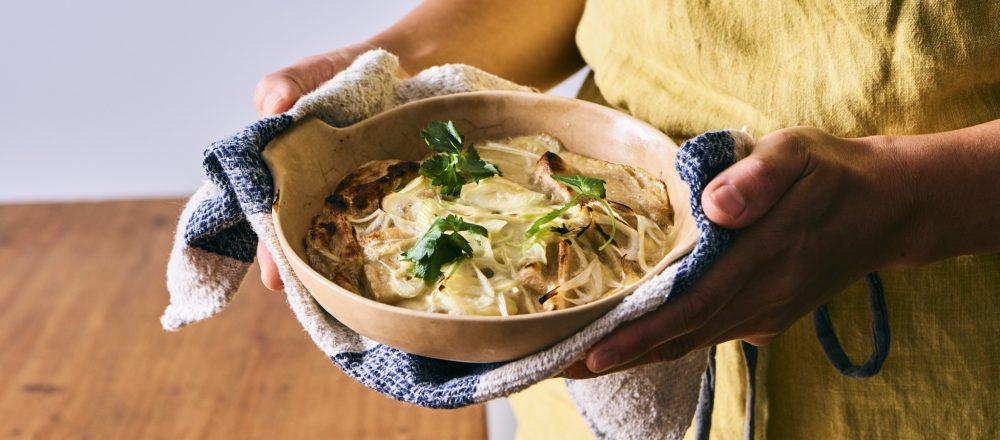 料理家さんたちが提案!ご当地おみやげのアレンジレシピ 「玄米角もちの豆乳白みそグラタン」