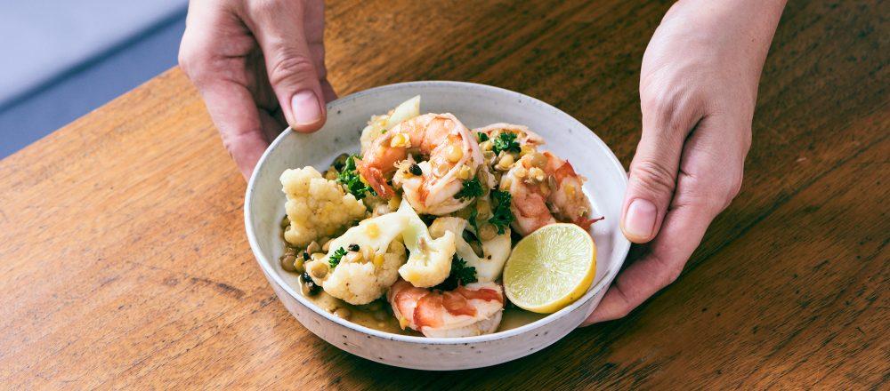 料理家さんたちが提案!ご当地おみやげのアレンジレシピ 「カリフラワー、レンズ豆のホットサラダ 実山椒ドレッシング」