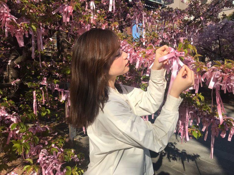 桜色の「えんむすびの花帯」。