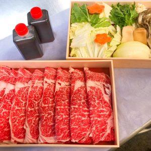 「霜降り国産牛すきやきセット」3,000円。しゃぶ禅特製割り下付き。※写真はイメージです。