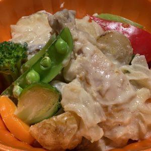 「大山鶏もも肉の豆乳フリカッセ」1200円。