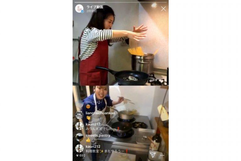 第2回。細川芙美さん(@humihosokawa)によるライブクッキング。赤ワインに合う大人なナポリタンを教えてもらった。事前に公開した材料をそろえれば、一緒に料理に挑戦できる!