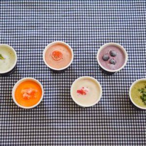 日本全国から集めた厳選野菜やフルーツを使い、おしゃれでおいしいギフトを製造販売する〈ベジターレ〉の「とれたて野菜と果実の生ジェラート」。ふたを開けると、こんなカラフルな生ジェラートが。それぞれトッピングもおしゃれで、どれから食べようか迷うこと間違いなし。  左上から、「フレッシュミント生レモン」、「キャロットマンゴー」、「完熟トマト」、「ローズヨーグルト」、「ブルーベリーチーズケーキ」、「ほうれん草豆乳バナナ」の6種です。