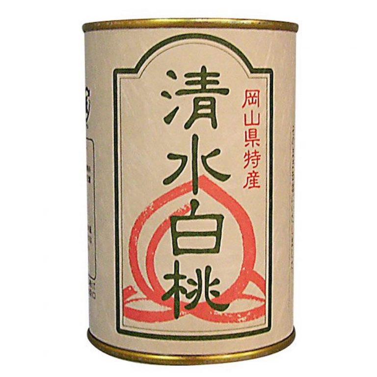 産地で完熟させた果物を手作業で皮をむき、シロップに入れ馴染ませた「フルーツ缶詰 清水白桃(2 ツ割)」1,620円(税込)。