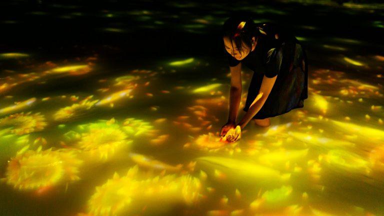 「人と共に踊る鯉によって描かれる水面のドローイング - Infinity」。