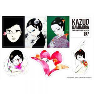 アートエキシビジョン「manazashi」のオリジナルステッカー7枚セット、1,100円 (税込)。