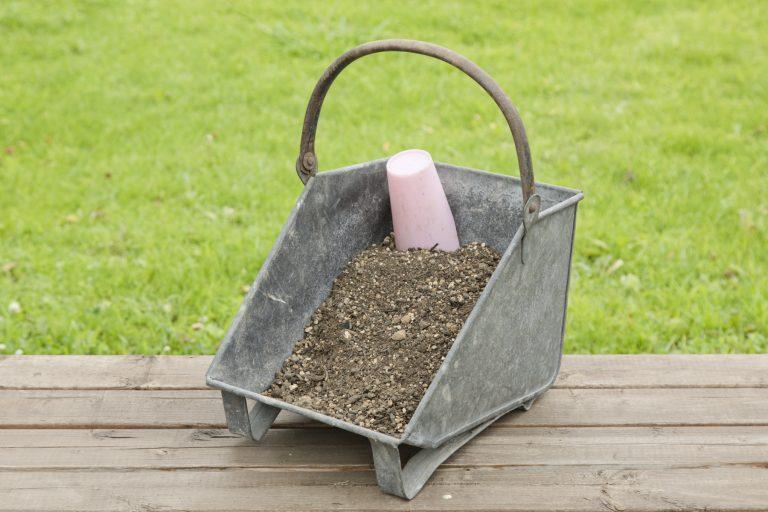 培養土と赤玉土を混ぜて使う。