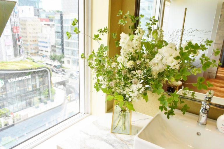 品のいいお花で視覚からも癒され、とても居心地がいい。
