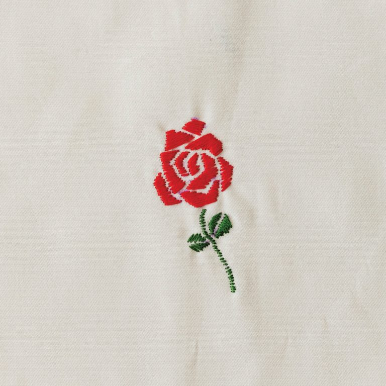 ローズ/コツ:花びらの隙間を思いきってあけるのがポイント。茎は点を並べるようにするとカーブがきれいに描ける。