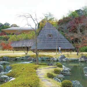 授与品やお土産が並ぶ松堂が、禅と庭のミュージアムのエントランス。建築家の藤森照信さんの作品。