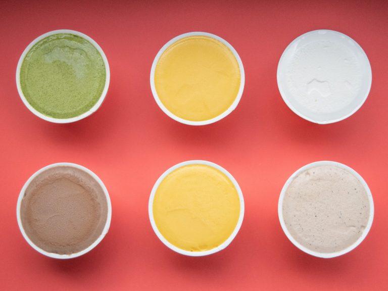 左から時計回りに、抹茶、マンゴー、ミルク、黒豆きなこ、チョコレート&珈琲。