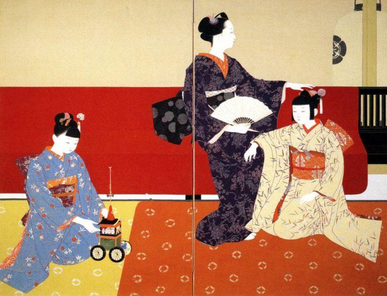 北沢映月《祇園会》1936年(昭和11年)絹本着色/二曲一隻屏風京都国立近代美術館蔵